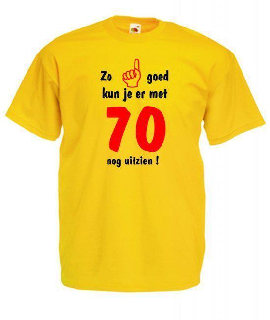 Mijncadeautje heren leeftijd T-shirt geel maat M Zo goed kun je er met 70 nog uitzien in Dampicourt