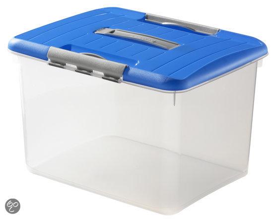 Curver Optima Opbergbox - 27 l - Kunststof - Transparant / Blauw
