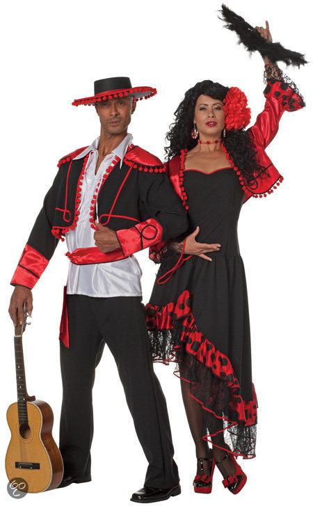 bol spaanse danseres zwart met rood maat 36