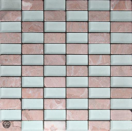 Keuken Badkamer Eindhoven ~ bol com  Venus Mozaiek Glas mix mat wit glas rosso natuursteen 2,3×4