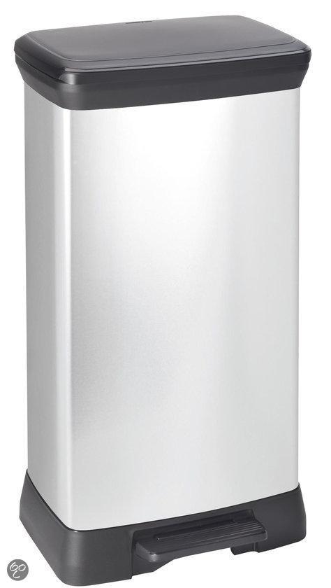 Curver Decobin Pedaalemmer - 50 l - Kunststof - Zilver Metallic