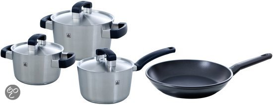 BK Conical Cool 3-delige Kookpannenset +  BK Easy Induction Koekenpan