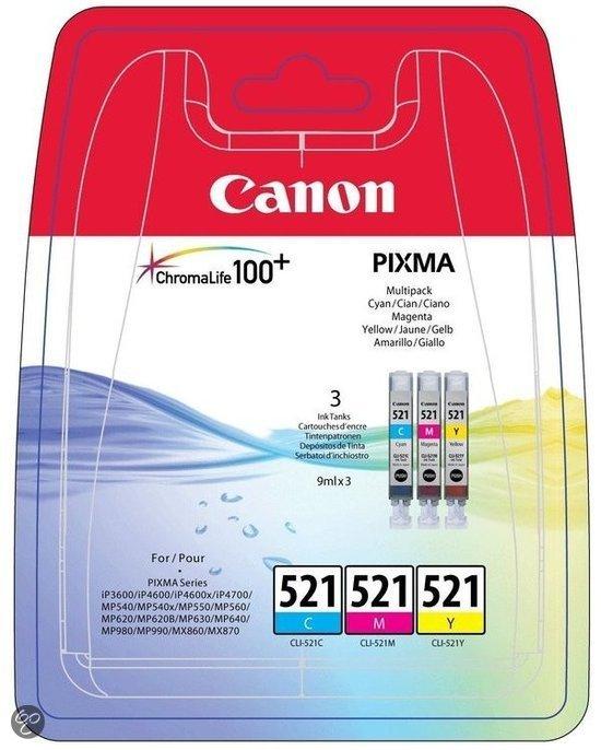 Canon CLI-521 - Inktcartridges Cyaan / Magenta / Geel - Multipack