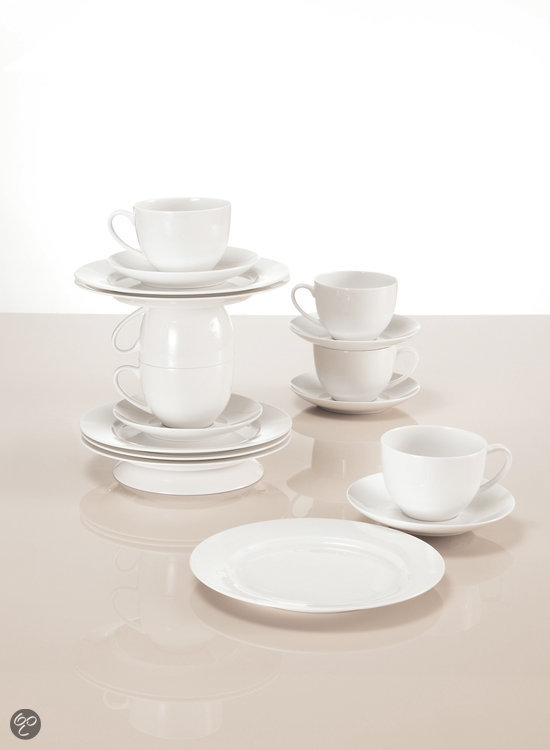 Maxwell & Williams Cashmere Round Koffie- & Theeset - 18-delig - Wit