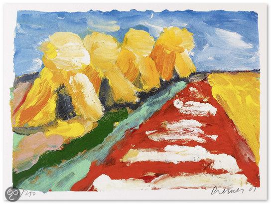 Jan cremer schilderij zeefdruk 39 korenschoven 39 groen - Associatie van kleur e geen schilderij ...