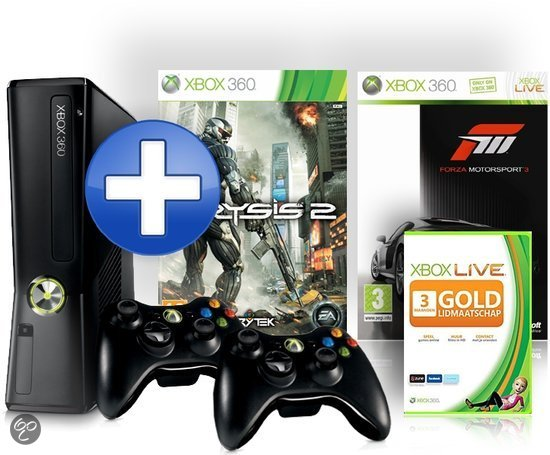 Microsoft Xbox 360 250GB + 2 controllers + 2 games + Xbox Live Gold: 3 maanden