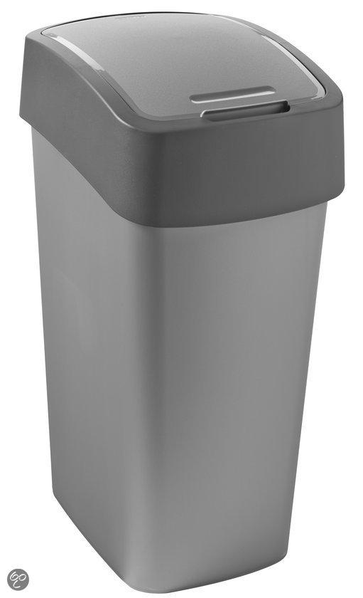 Curver Flip bin Afvalbak Afvalemmer - 50 l - Kunststof - Zilver/Antraciet