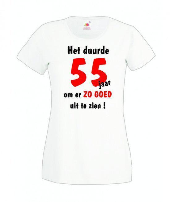 Mijncadeautje dames leeftijd T-shirt wit maat L Het duurde 55 jaar om er zo goed uit te zien in Wechelderzande