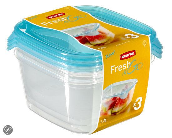 Curver Set Fresh&Go Vershouddozen - 3x 1,2 l - Kunststof - Vierkant - Transparant/Translucent precious blauw - Set van 3 stuks