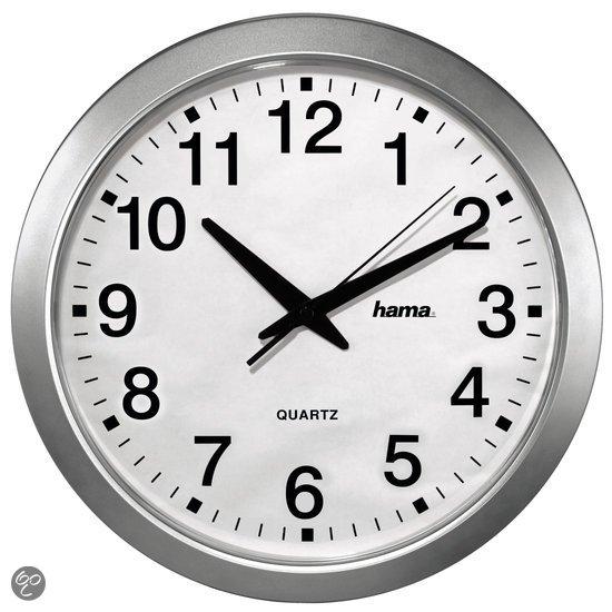 Hama wall clock klok rond kunststof 30 cm zilver wonen - Klok cm ...