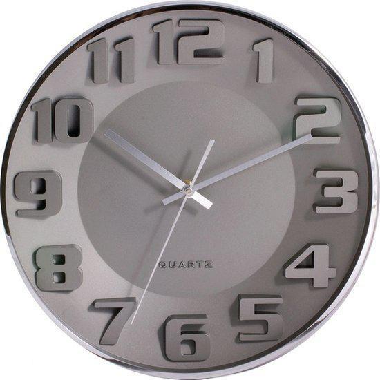 Tiq klok rond aluminium 33 5 cm grijs - Klok cm ...