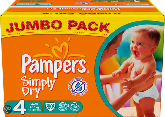Pampers Simply Dry - Luiers Maat 4 - Jumbo Pack 80st
