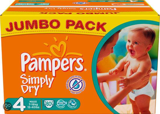 Pampers Simply Dry - Luiers Maat 4 - Jumbo Pack 80st