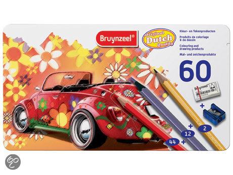 Bruynzeel Super Sixties Kever Blik Kleurpotloden - 60 Stuks