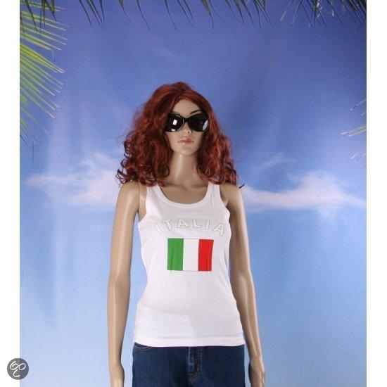 Witte dames tanktop met vlag van italie l
