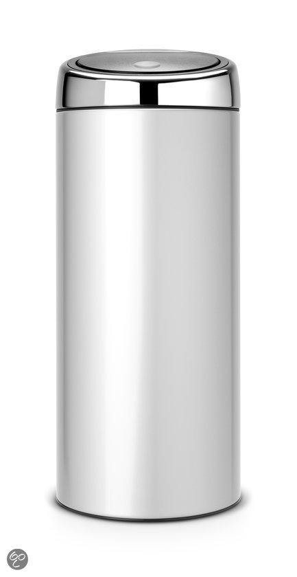Brabantia Touch Bin Afvalemmer met kunststof binnenemmer - Rond - 30 l - Metallic Grey met Brilliant Steel deksel
