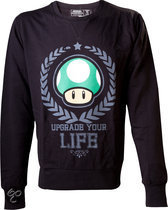 Nintendo Sweater Zwart met groene Paddestoel Maat XL