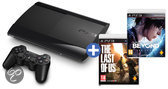 Sony PlayStation 3 Console 500GB Super Slim + 1 Wireless Dualshock 3 Controller + Beyond Two Souls + The Last Of Us - Zwart PS3 Bundel