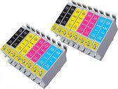 Compatible Epson T0611 - T0615 Teddybeer-serie, 16 pak met chip. 4 Zwart. 4 Cyaan, 4 Magenta, 4 Geel.