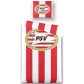 PSV Dekbedovertrek - 142 x 200/220 cm - 1 Sloop - Rood/Wit