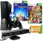 Foto van Microsoft Xbox 360 Slim 4GB + Kinect Sensor + 1 Controller + 2 Games + 1 Maand Xbox Live Gold