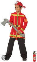 Brandweer jas - Kostuum - Maat 128 - Rood