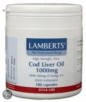 Lamberts Cod Levertraan - 1000 mg - 180 Capsules