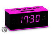 Wekker en radio - Zwart / Roze