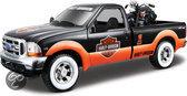 Maisto Ford F-350 Met Harley-Davidson schaal 1:24 (oranje/zwart)