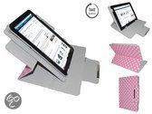 Pocketbook 611 Diamond Class Polkadot Hoes met 360 graden Multi-stand, Roze, merk i12Cover