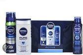 NIVEA Men Active Toilettas - 4 delig - Geschenkset