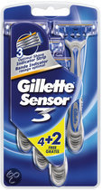 Gillette Sensor 3 Male Sensitive - 4 + 2 st - Wegwerp Scheermesjes