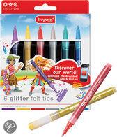 Bruynzeel Glitter Viltstiften - 6 Stuks