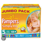 Pampers Simply Dry - Luiers Maat 5 Jumbo box 66 st.