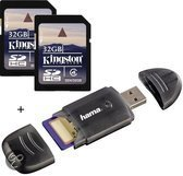 Benza - Kingston Security Digital (SD) Card/Kaart SDHC 2x32GB Class 4 Twin Pack (Inc. USB SD/SDHC Kaartlezer) Geheugenkaarten