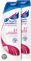 HEAD & SHOULDERS  2in1 Glad & Zijdezacht Shampoo & Conditioner - 2 st - Voordeelverpakking