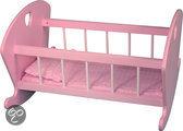 Poppen schommelbedje hout spijlen roze met wit- HARTJE afm. 44 x 29 x 40cm