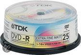 TDK DVD-R 120min/4,7GB 16x 25 stuks op spindel - Printable