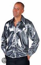 Zilver metallic overhemd voor heren 56-58 (l)