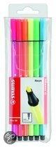 STABILO pen 68 neon viltstift etui - 6 stuks