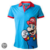 Nintendo Polo Shirt Blauw Mario Maat M