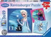 Frozen  - Kinderpuzzel - 3x 49 Stukjes