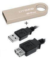 Benza - Kingston MEM DataTraveler USB Metalen Stick/Geheugenstick Flash Drive SE9 64GB 2.0 (sleutelhanger) (Inc. USB verlengkabel)