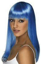 Pruik neon blauw dames