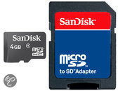 MicroSDHC kaart 4GB class 4 van SanDisk (geheugenkaart met adapter)