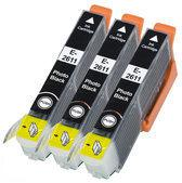 Compatible Epson T2616 / T2636 / Epson 26 / Epson 26XL, 3 Pak. 3 Zwart klein.