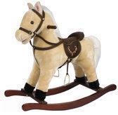Hobbelpaard Creme in luxe uitvoering met paardengeluiden en bewegende mond. Zithoogte +/- 40 centimeter.