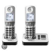 Philips D5052 - Duo DECT Telefoon met Antwoordapparaat - Zilver/Zwart