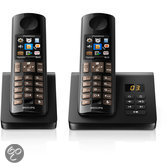 Philips D705 - Duo DECT telefoon met antwoordapparaat - Zwart