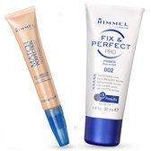 Rimmel Fix & Perfect Pro Primer & Rimmel Match Perfection Concealer & Highlighter - 010 Ivory